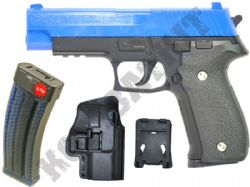 G26N BUNDLE Metal Airsoft BB Gun Black and Blue with Holster/Belt Clip and Pellets